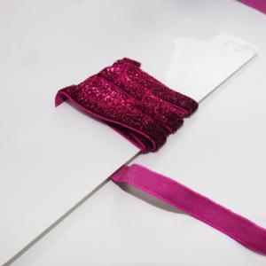 Elástico Glitter rosa beterraba 10mm